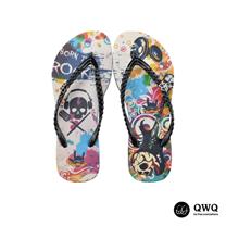 【QWQ】創意設計夾腳拖鞋-Born To Rock-黑(無鑽)
