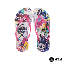 【QWQ】創意設計夾腳拖鞋-Born To Rock-粉(無鑽)