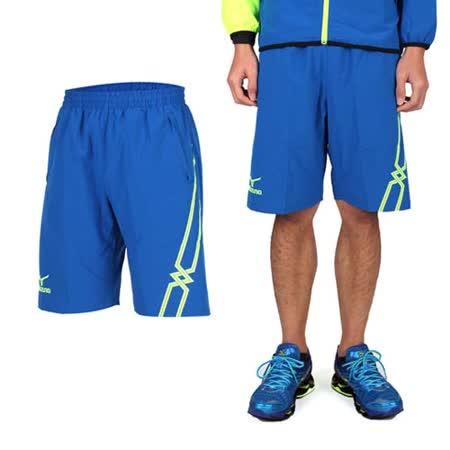 (男) MIZUNO 休閒平織短褲- 訓練 健身 路跑 風褲 美津濃 藍螢光綠