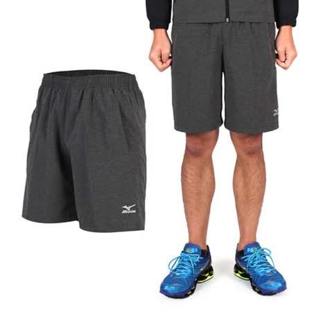 (男) MIZUNO 平織短褲- 訓練 慢跑 路跑 風褲 休閒短褲 美津濃 碳灰
