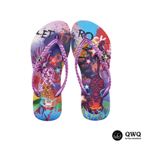 【QWQ】創意設計夾腳拖鞋-Let It Rock-紫(無鑽)
