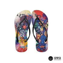 【QWQ】創意設計夾腳拖鞋-Let It Rock-黑(無鑽)