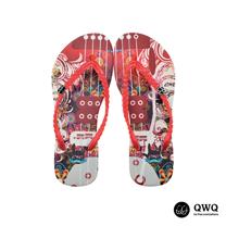 【QWQ】創意設計夾腳拖鞋-旋的律動-紅(無鑽)