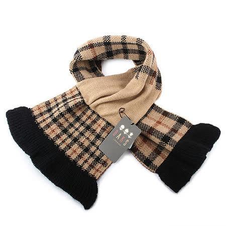 DAKS 經典格紋100%羊毛雙色圍巾-駝色