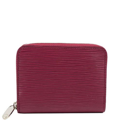 Louis Vuitton LV M60383 EPI 水波紋皮革信用卡拉鍊零錢包.紫紅_