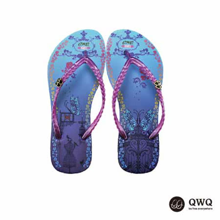 【QWQ】創意設計夾腳拖鞋-虹欄-紫(無鑽)