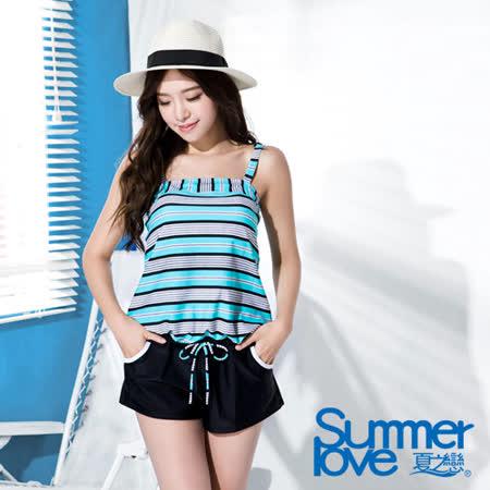 【SUMMERLOVE 夏之戀】 都會風情連身褲二件式泳衣(S16707)
