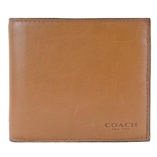 COACH 經典LOGO 壓印全皮短夾活動證件夾禮盒(咖/黑)