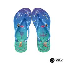 【QWQ】創意設計夾腳拖鞋-空中園-藍(無鑽)