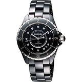 CHANEL 香奈兒 J12 陶瓷真鑽機械錶-黑/38mm H1626價格