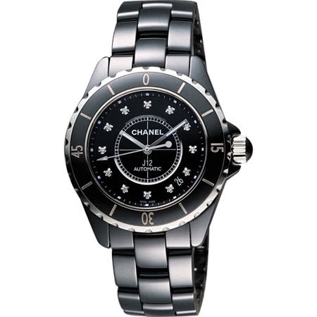 CHANEL 香奈兒 J12 陶瓷真鑽機械錶-黑/38mm H1626