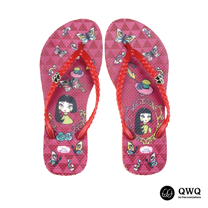 【QWQ】創意設計夾腳拖鞋-夢蝶女-紅(無鑽)