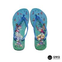 【QWQ】創意設計夾腳拖鞋-經靈之舞-藍(無鑽)