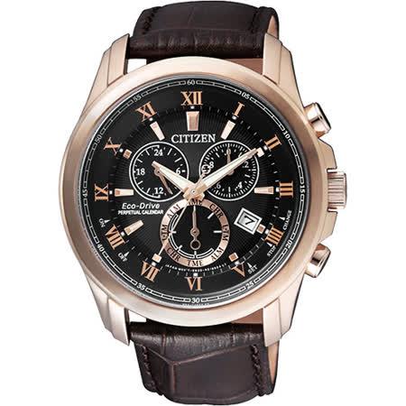 CITIZEN 亞洲限量光動能萬年曆腕錶-黑x玫瑰金框/43mm BL5542-07E