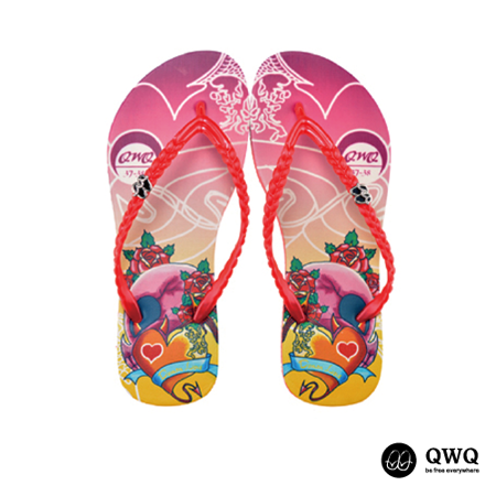 【QWQ】創意設計夾腳拖鞋-Demon Love-紅(無鑽)