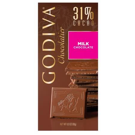 【GODIVA】頂級巧克力磚系列-31%牛奶巧克力口味 100g