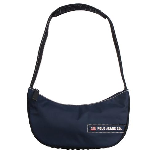 POLO 織布LOGO字樣拉鏈肩背包(藍)