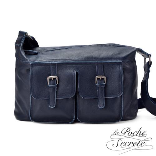 La Poche Secrete真皮 韓系 真皮優雅雙口袋側背斜背包~深海藍