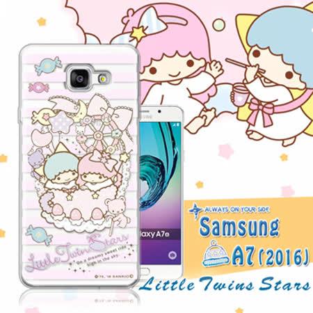 三麗鷗授權正版 雙子星仙子KiKiLaLa Samsung Galaxy A7 (2016) / A710X 透明軟式保護套 手機殼(花藍)