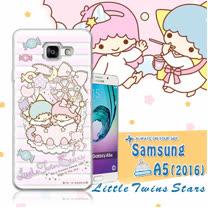 三麗鷗授權正版 雙子星仙子KiKiLaLa Samsung Galaxy A5(2016) 透明軟式保護套 手機殼(花藍)