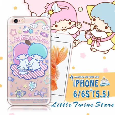 三麗鷗授權正版 雙子星仙子KiKiLaLa iPhone 6/6s plus i6s+ 5.5吋 透明軟式保護套 手機殼(休閒)