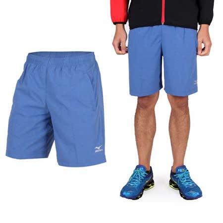 (男) MIZUNO 平織短褲- 訓練 慢跑 路跑 風褲 休閒短褲 美津濃 藍銀