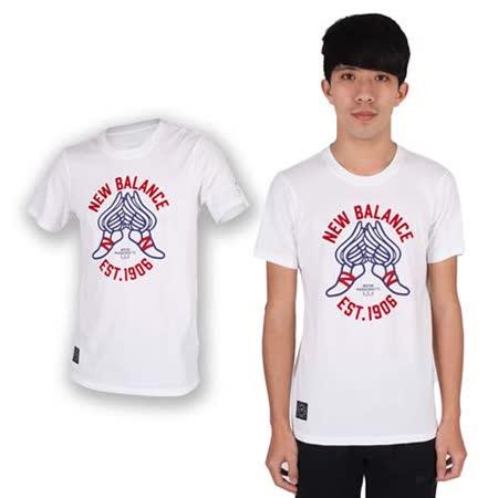 (男) NEWBALANCE 短袖T恤-NB 紐巴倫 上衣 慢跑 路跑 休閒 白紅藍