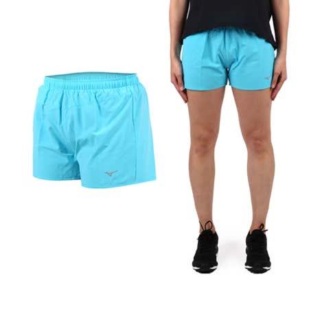 (女) MIZUNO 路跑短褲- 美津濃 慢跑 路跑 休閒 運動 鐵人三項 水藍銀