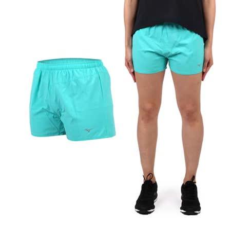 (女) MIZUNO 路跑短褲- 美津濃 慢跑 路跑 休閒 運動 鐵人三項 湖水綠