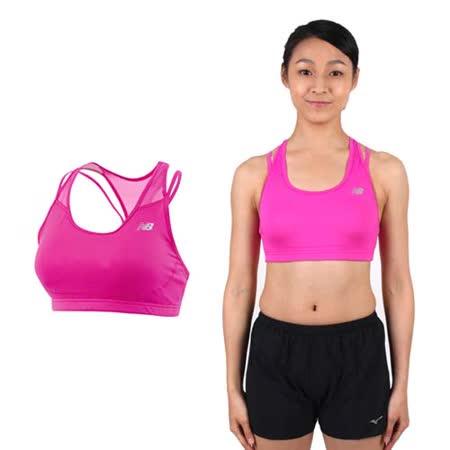 (女) NEWBALANCE 運動短BRA-慢跑 瑜珈 有氧 韻律背心 內衣 桃紅銀