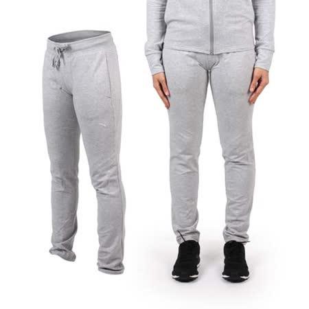 (女) PUMA CLEVERDRY 束口棉質長褲-慢跑 瑜珈 有氧 休閒 運動 淺灰