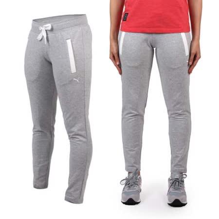 (女) PUMA 棉質長褲-慢跑 路跑 瑜珈 有氧 休閒 運動 淺灰白