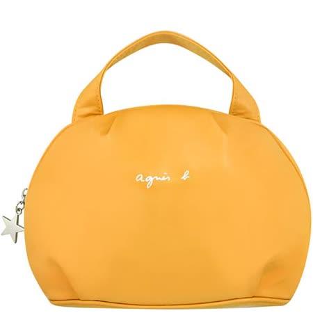 agnes b. 亮面漆皮手提包-土黃色