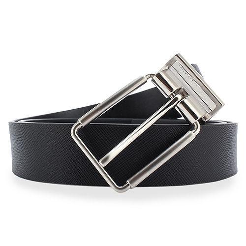 Calvin Klein CK 簡約金屬扣頭雙面穿式皮帶-黑色