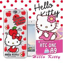 三麗鷗SANRIO授權正版 Hello Kitty凱蒂貓 HTC One A9 透明軟式保護套 手機殼(蘋果)