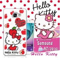 三麗鷗SANRIO授權正版 Hello Kitty凱蒂貓 Samsung Galaxy A7 (2016) / A710X 透明軟式保護套 手機殼(蘋果)