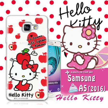 三麗鷗SANRIO授權正版 Hello Kitty凱蒂貓 Samsung Galaxy A5(2016) 透明軟式保護套 手機殼(蘋果)