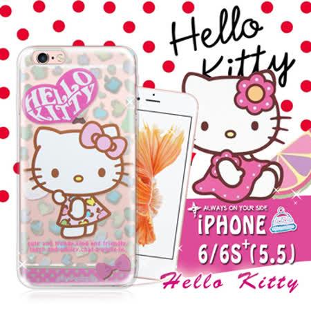 三麗鷗SANRIO授權正版 Hello Kitty凱蒂貓 iPhone 6 plus 5.5吋 i6+ 透明軟式保護套 手機殼(豹紋)