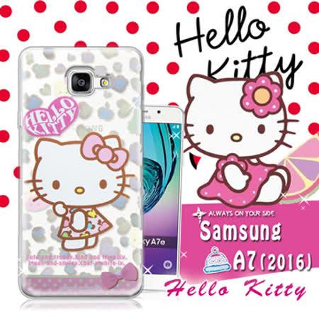 三麗鷗SANRIO授權正版 Hello Kitty凱蒂貓 Samsung Galaxy A7 (2016) / A710X 透明軟式保護套 手機殼(豹紋)