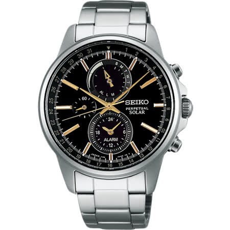 SEIKO SPIRIT 太陽能動力儲存計時碼錶-黑x金時標/41mm V198-0AC0K(SBPJ007J)