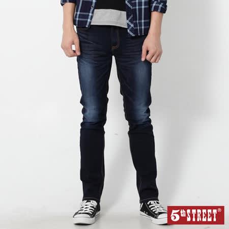 5th STREET 微彈伸縮小直筒牛仔褲-男-原藍磨