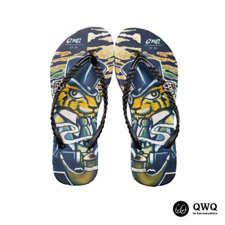 【QWQ】創意設計夾腳拖鞋-Gentleman Tiger-黑(無鑽)