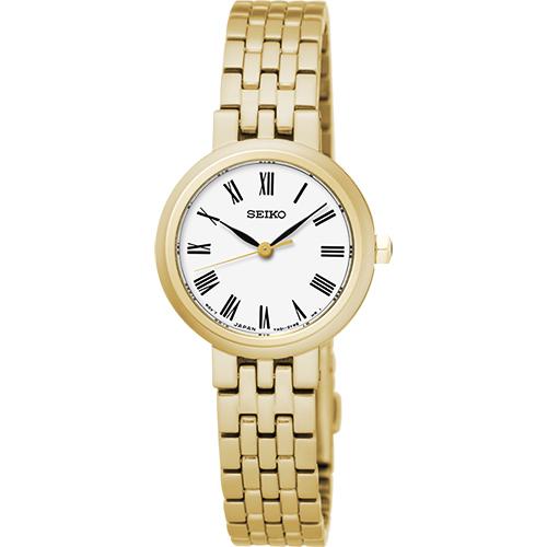 SEIKO 羅馬風尚經典女錶-白x金/24mm 7N01-0HW0K(SRZ464P1)