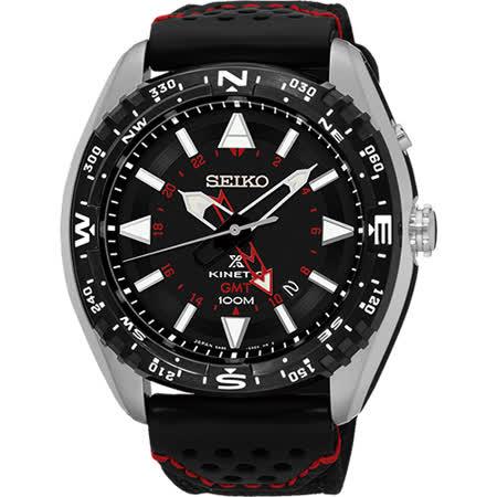 SEIKO Prospex GMT 菁英人動電能腕錶-黑/45mm 5M85-0AE0R(SUN049P2)