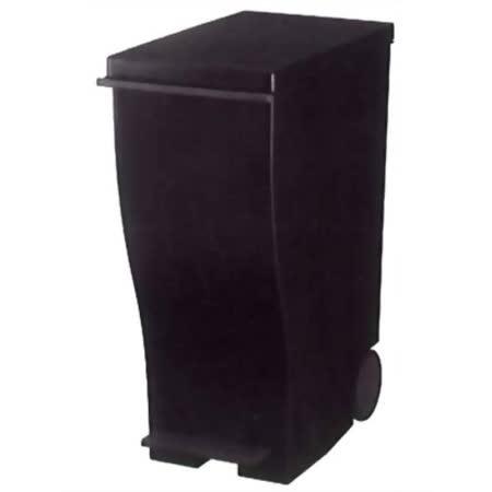 日本知名《kcud》踩踏式 時尚 垃圾桶(附輪) 33L-全黑