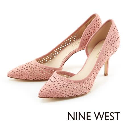 NINE WEST-性感飆分鞋側弧狀鏤空麂皮高跟鞋-櫻花粉