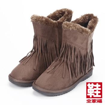 (女) DOOK 毛邊流蘇低筒靴 可可 鞋全家福