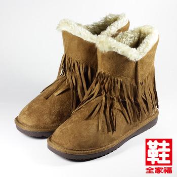 (女) DOOK 毛邊流蘇低筒靴 棕 鞋全家福