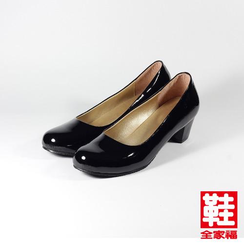 ^(女^) YOUNG COLOR 小圓頭鏡面粗跟女鞋 黑 鞋全家福