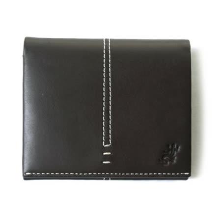 【agnes b.】蜥蜴圖騰車線設計扣式零錢包皮夾